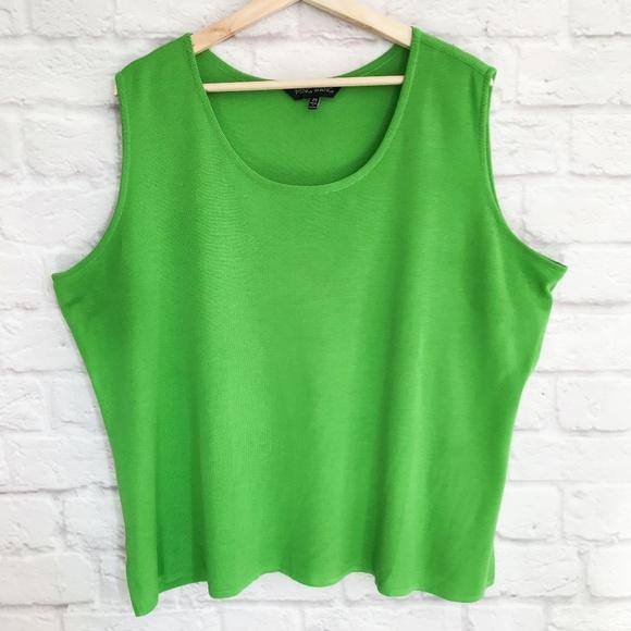 Ming Wang Tops - Ming Wang Plus Size Scoopneck Tank Green